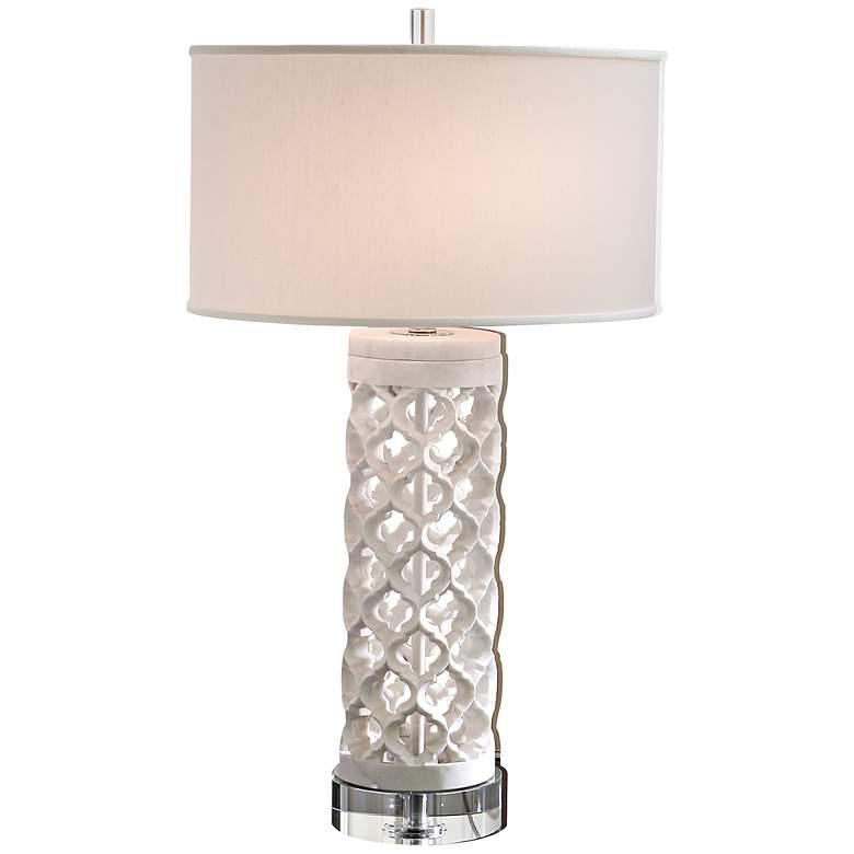 Round Arabesque White Marble Table Lamp