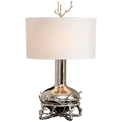 Contemporary Fat Nickel Twig Table Lamp
