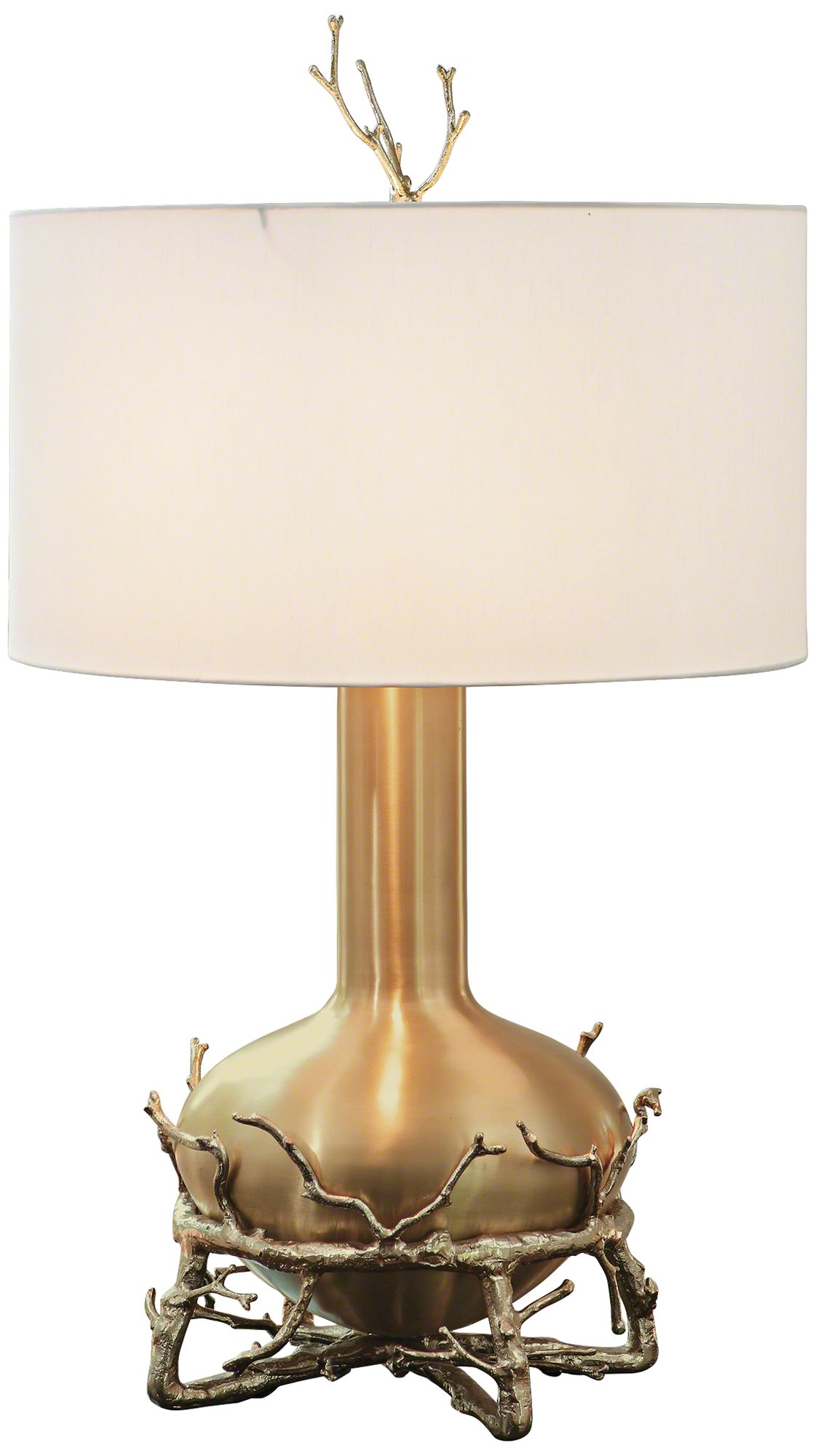 Contemporary Fat Brass Twig Table Lamp