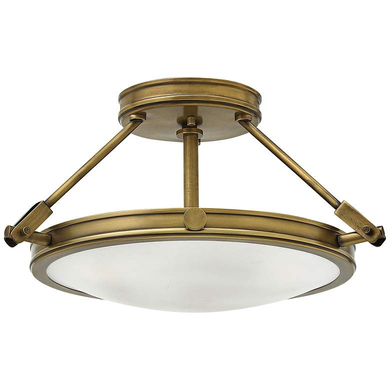 """Hinkley Collier 16 1/2"""" Wide Heritage Brass Ceiling Light"""