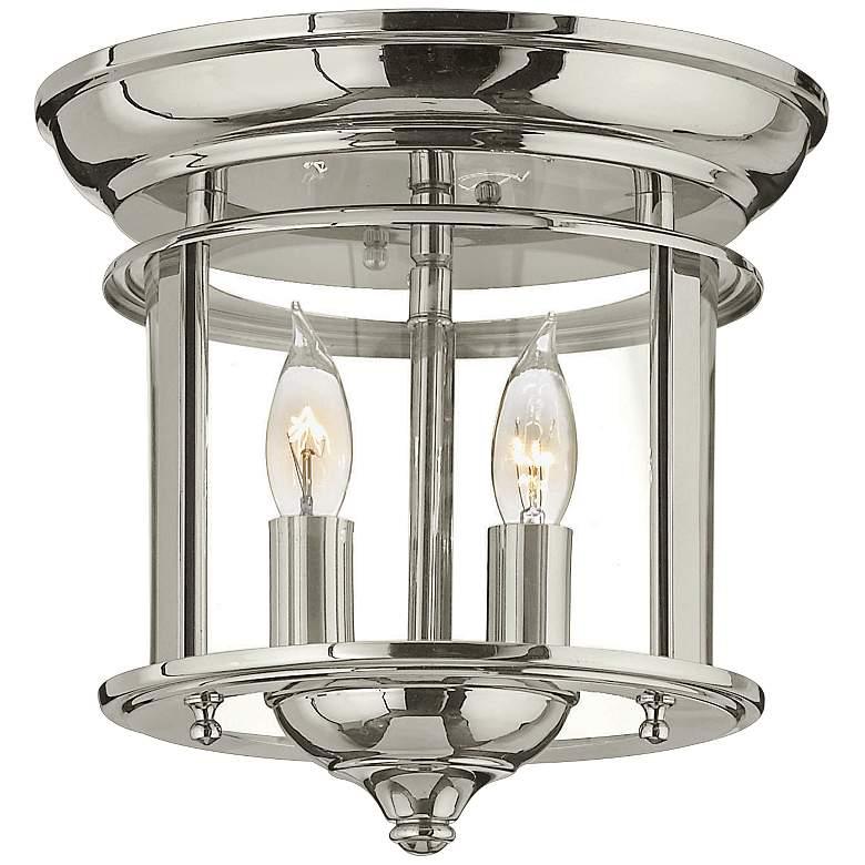 "Hinkley Gentry 9 1/2"" Wide Polished Nickel Ceiling Light"