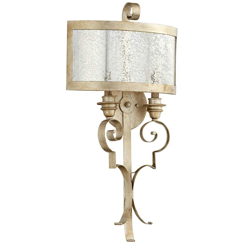 """Quorum Champlain 28"""" High Aged Silver 2-Light Wall Sconce"""