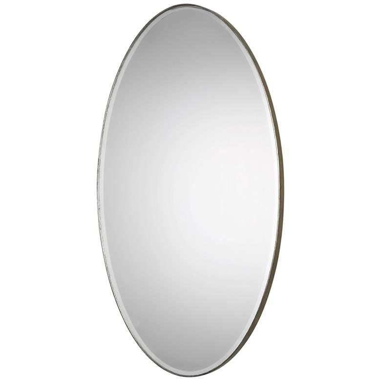 "Petra Antique Silver 24 1/4"" x 48 1/4"" Oval Wall Mirror"