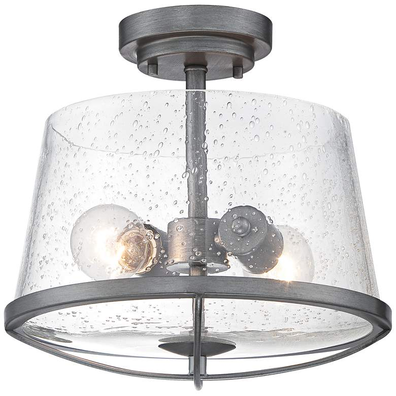 """Darby 12"""" Wide Weathered Iron 2-Light Ceiling Light"""