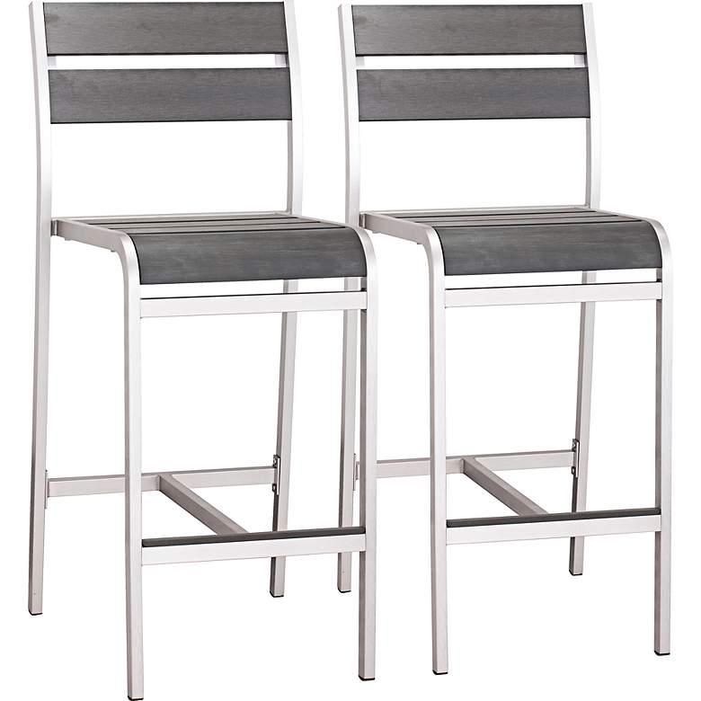 Zuo Megapolis Brushed Aluminum Outdoor Bar Chairs Set