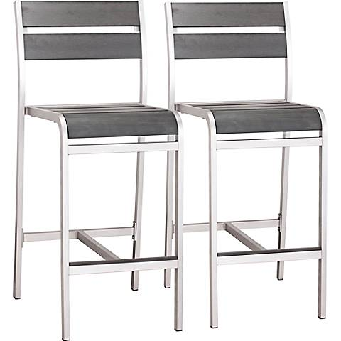 Zuo Megapolis Brushed Aluminum Outdoor Bar Chairs Set of 2
