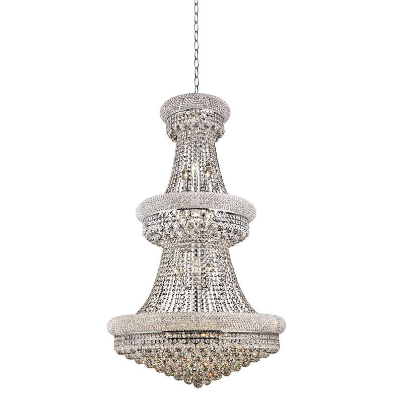 """Primo 30"""" Wide Chrome and Clear Crystal Chandelier"""