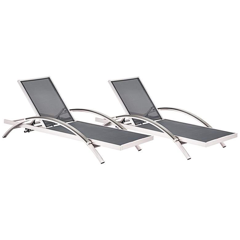 Zuo Metropolitan Mesh Steel-Arm Outdoor Aluminum Chaise