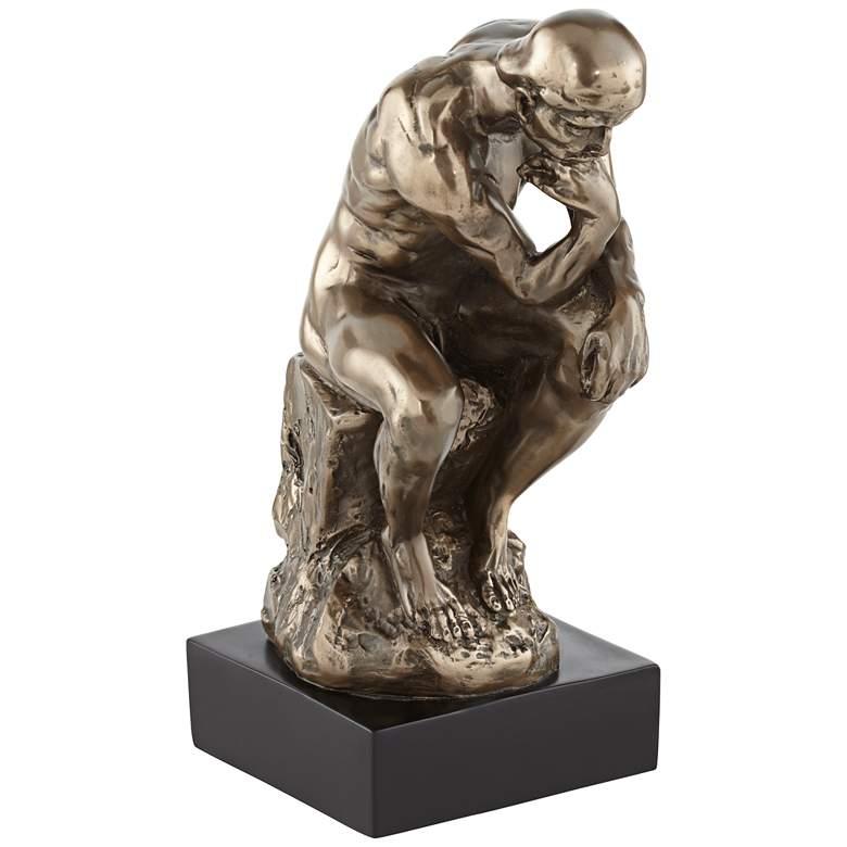 "Bronze Thinker on a Rock 12"" High Decorative Statue"