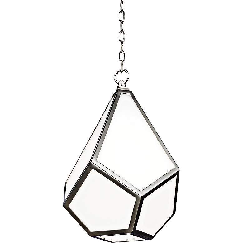 "Feiss Diamond Polished Nickel 9""W Opal Glass Mini Pendant"