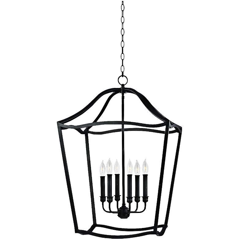 "Feiss Yarmouth 20 1/4""W 6-Light Forged Iron Lantern Pendant"