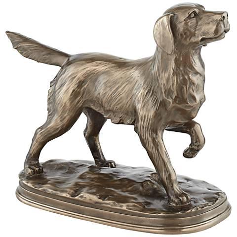 "Bronze Walking Dog 13 1/2"" Wide Decorative Statue"