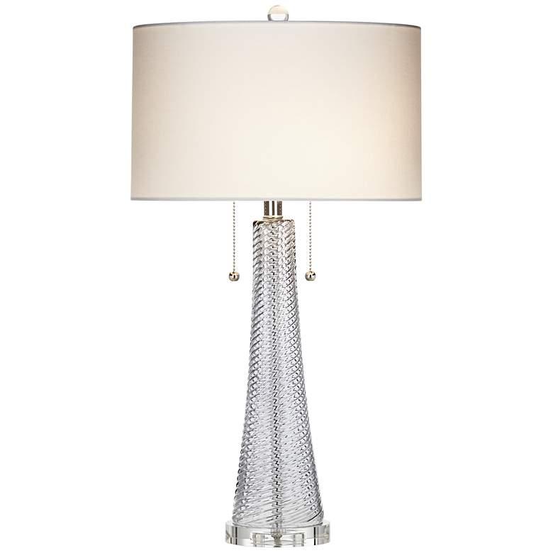 Possini Euro Miriam Gray Glass Table Lamp