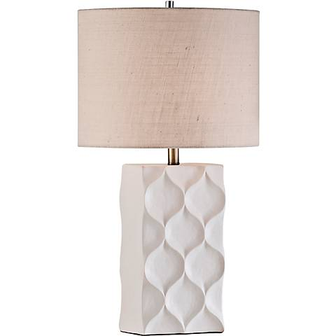 Nova Fleur Cream Burlap Textured White Ceramic Table Lamp