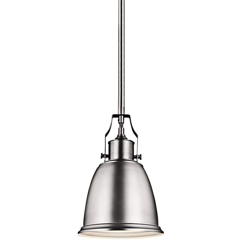 "Feiss Hobson 7 1/2""W Satin Nickel 1-Light Mini Pendant"