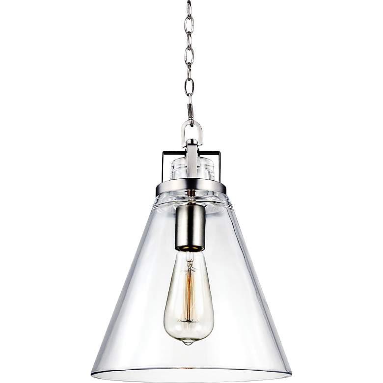 "Feiss Frontage 10""W Satin Nickel 1-Light Glass Mini Pendant"