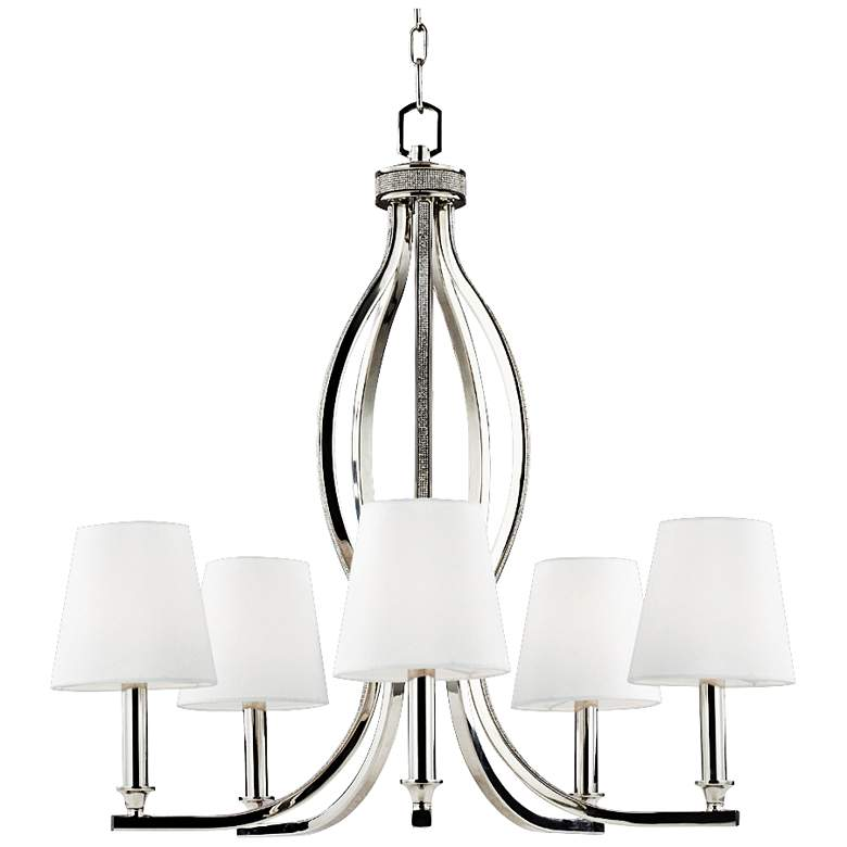 """Feiss Pave 25 1/4""""W Polished Nickel 5-Light Chandelier"""