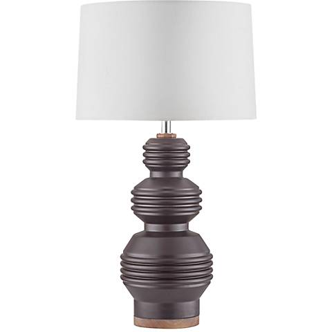 Nova Ripples Plait Ivory Charcoal Ceramic Table Lamp