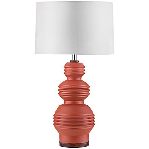 Nova Ripples Plait Ivory Burnt Orange Ceramic Table Lamp
