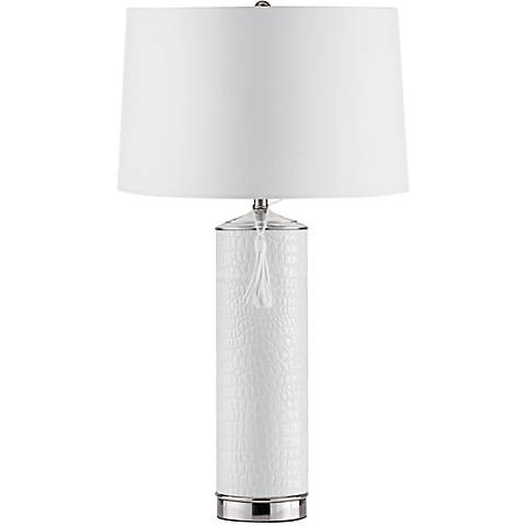 Nova Croc White Faux Leather Chrome Table Lamp