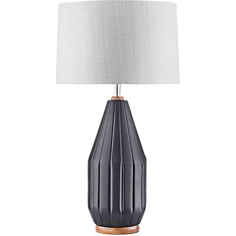Nova Grooves Twine Gray Matte Black Ceramic Table Lamp