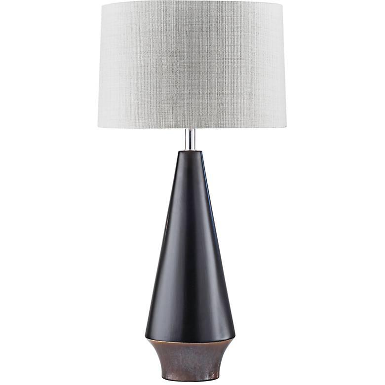 Nova Buoy Neo-Nautical Matte Black Ceramic Table Lamp
