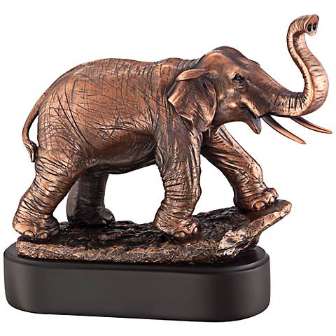 "Charging Elephant 10 1/2"" High Bronze Figurine"