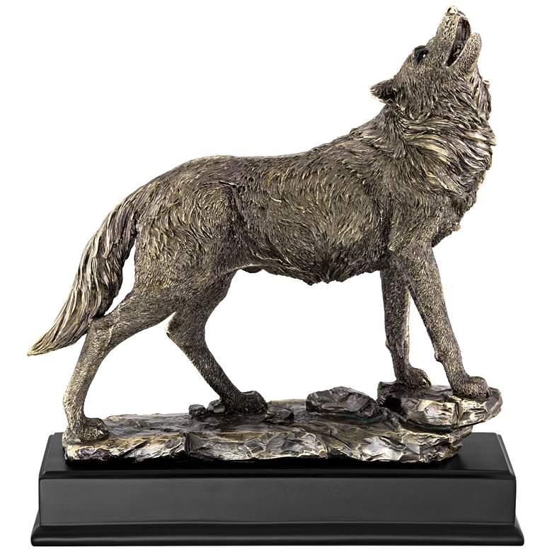 """Howling Wolf 13"""" High Bronze Statue"""