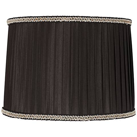 Black Pleated Lamp Shade with Silver Trim 13x14x10 (Spider)
