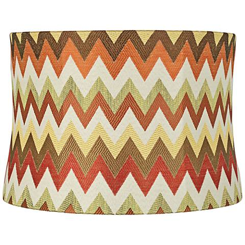 Red and Brown Chevron Drum Lamp Shade 15x16x11 (Spider)