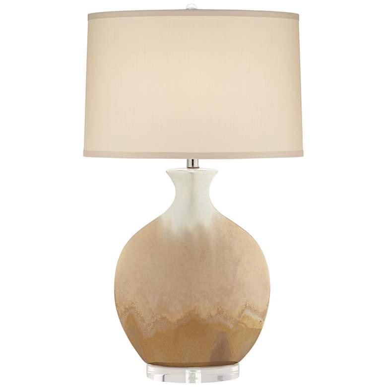 Marci Ivory Drip Round Ceramic Table Lamp