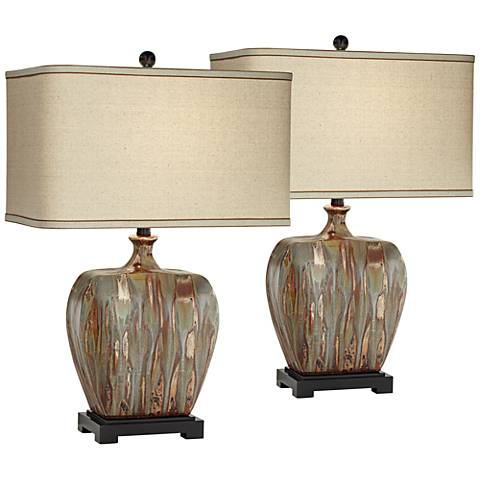 Julius Copper Drip Ceramic Table Lamp Set of 2