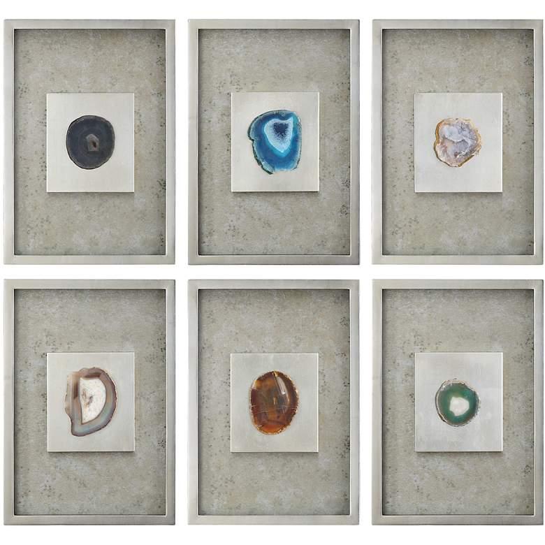 """Uttermost 6-Piece Agate Stones 19 1/2"""" High Wall Art Set"""