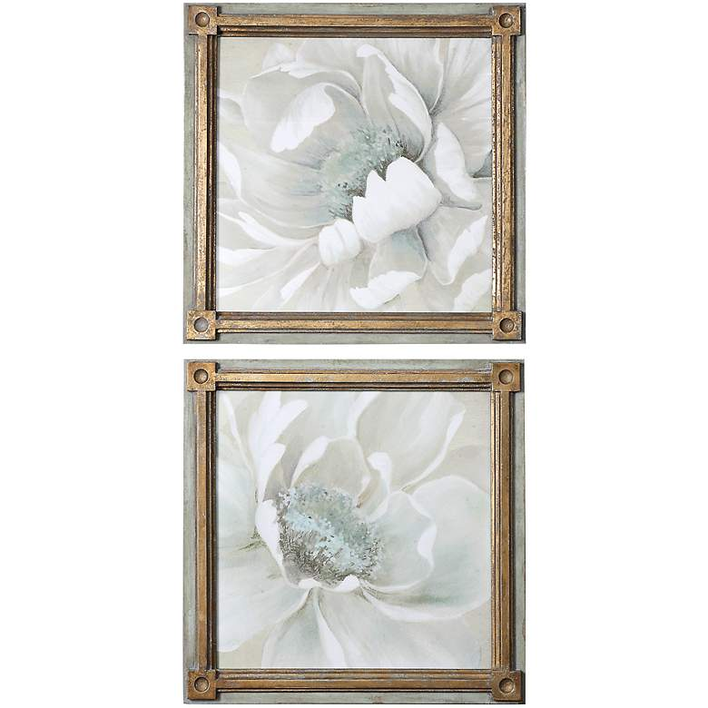 """Uttermost 2-Piece Winter Blooms 29"""" Square Wall Art"""