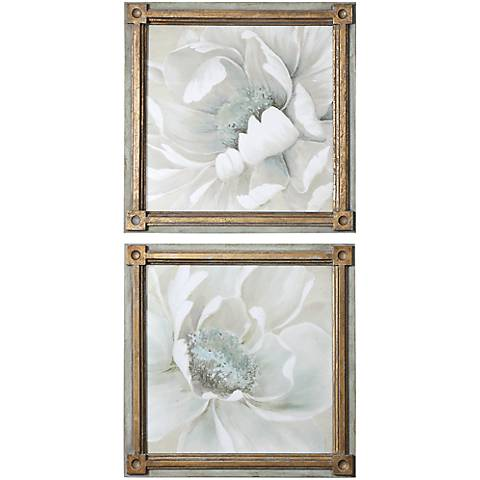 "Uttermost 2-Piece Winter Blooms 29"" Square Wall Art Set"