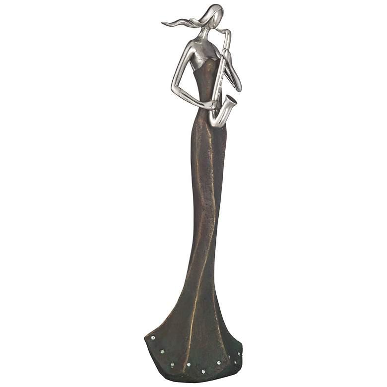 """Abstract Saxophone Musician 16 1/2"""" High Sculpture"""