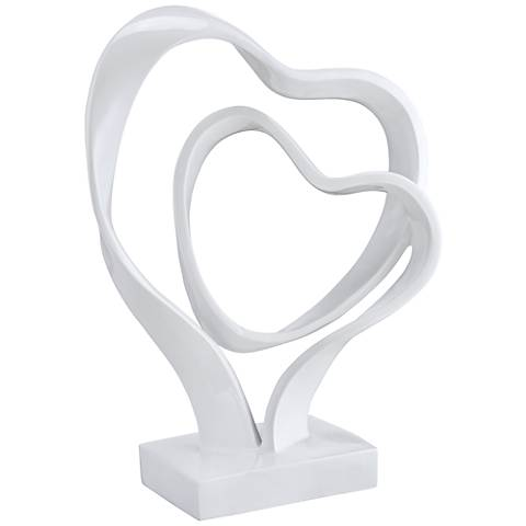"Two Hearts as One 14 1/4"" High White Sculpture"