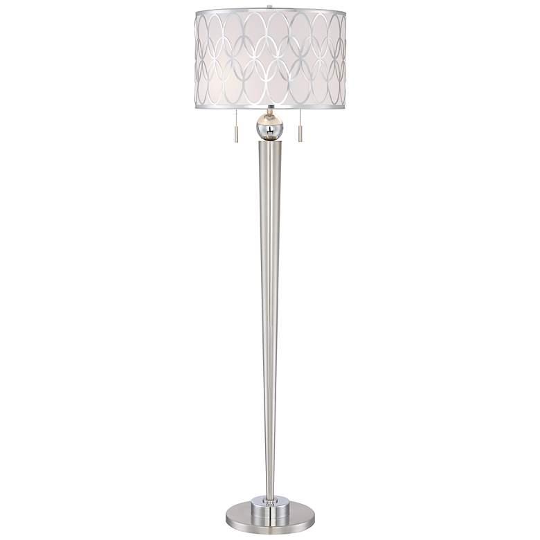 Possini Euro Spyra Brushed Nickel Metal Floor Lamp