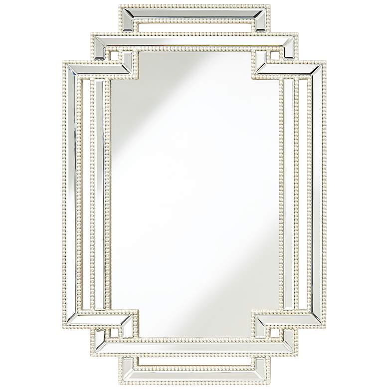 "Erte Openwork Silver Beaded 27"" x 39 1/2"" Wall Mirror"