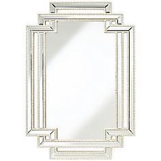"Possini Euro Erte Silver 27"" x 39 1/2"" Beaded Wall Mirror"