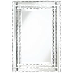 "Ravalli Silver 23"" x 34 1/4"" Beaded Wall Mirror"