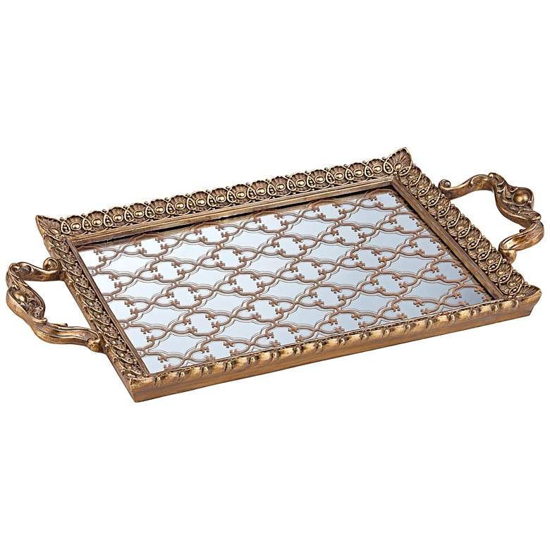 """Celina 15 3/4"""" Wide Antique Gold and Mirror Rectangular Tray"""