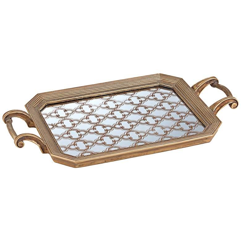 Victoria Tile Design Gold Rectangular Tray