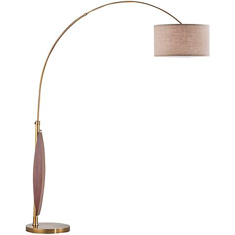 Nova Clessidra Medium Wood Weathered Brass Arc Floor Lamp