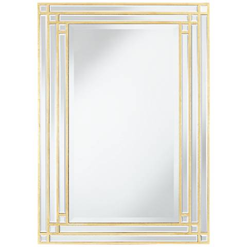 """Oppelo Gold Corner Facets 26 1/2""""x37"""" Wall Mirror"""