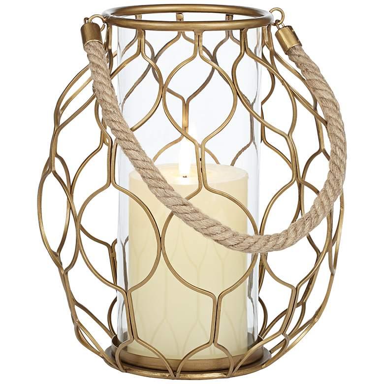 """Gold Net 20 1/4"""" High Basket Pillar Candle Holder"""