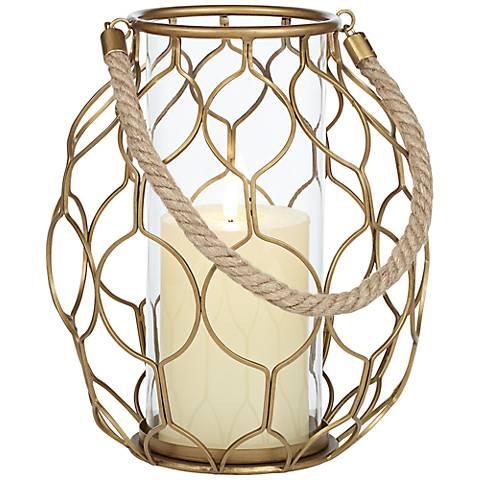 Gold Net Basket Pillar Candle Holder