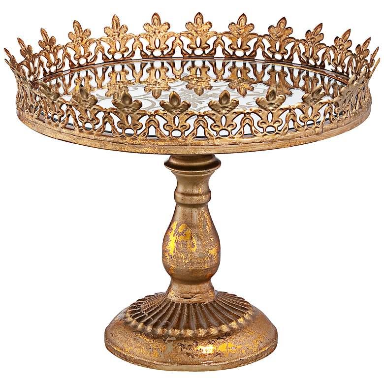 "Fleur de Lis Gold 11 1/4"" Round Decorative Cake Stand"