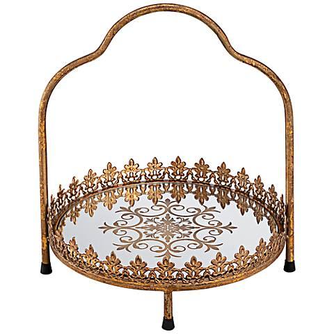 "Fleur de Lis Gold 12 1/4"" Round Decorative Cake Stand"