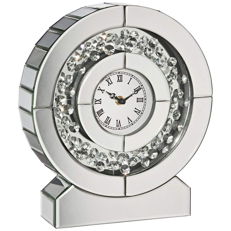 "Claudyn Silver Mirrored 12"" High Tabletop Clock"